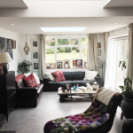 5 - Living room, projector, new beam, post, bi-fold doors, sedum green roof