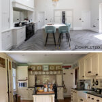 Before & After - Kitchen 1 - Keeps Architect, Joaquin Gindre, Surrey Architect, Planning Application, Vaulted ceiling, new Kitchen, herringbone floor